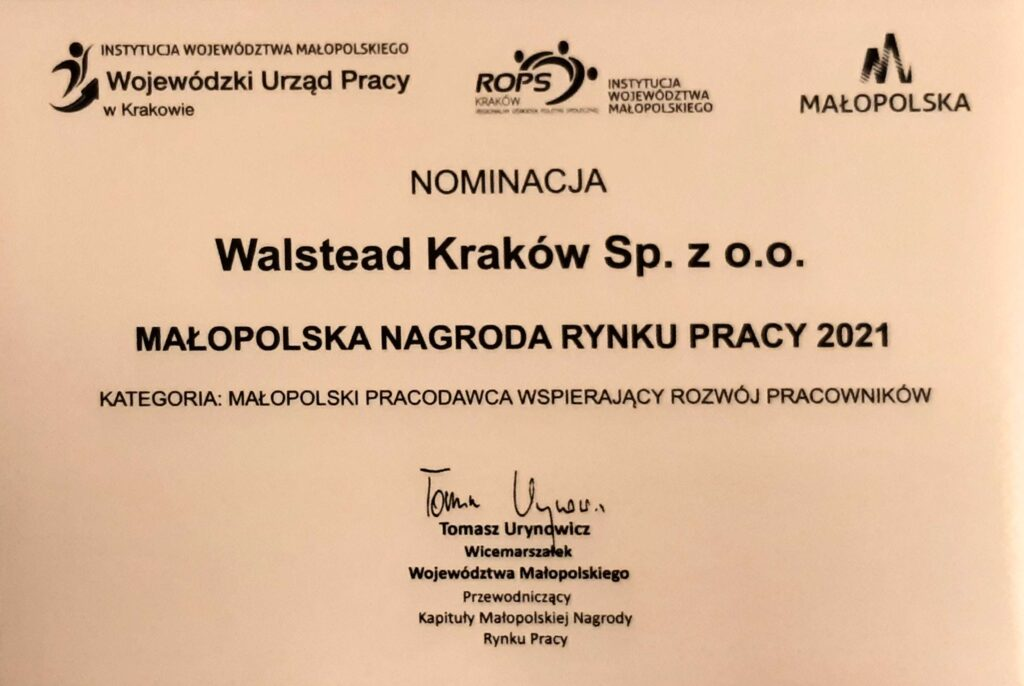 Małopolska Nagroda Rynku Pracy 2021 dla Walsead